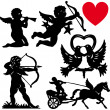 ensemble de jour de valentines silhouette Cupidon vector illustration — Vecteur