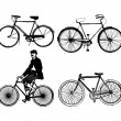 Set of old classic bike Illustration Vector — Stock Vector