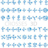 Set of crosses 3D vector illustration — Stock Vector