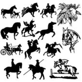 Horse Silhouettes - Vector. Easy Change Colors — Stock Vector