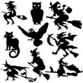 Silhouettes of witch flying on broom vector illustration — Stock Vector