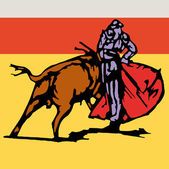 Bullfighter, bull, typical spanish vector illustration — Stock Vector