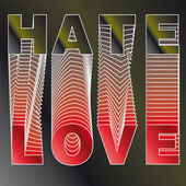 Illustration - Vector LOVE text and HATE on background. — Stock Vector