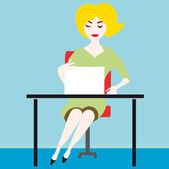 Blond girl on the computer — Stock Vector
