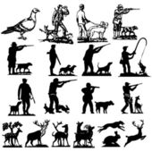 Hunting collection silhouettes - vector — Vector de stock