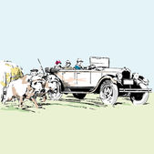 Old timer car vector illustration — Stock Vector