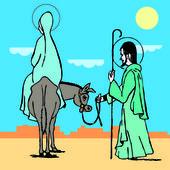 Nativity Holy night, way to bethlehem. Vector illustration — Stock Vector