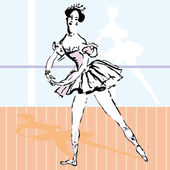 Beautiful ballet dancer ballerina vector illustration — Stock Vector