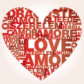Valentine heart from love words — Stock Vector