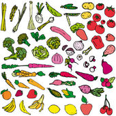Vegetables and fruit vector illustration — Stock Vector