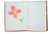 Drawing flower in a notebook on white background. — Stock fotografie