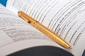 концепция образования или чтение с книгой и пером — Стоковое фото