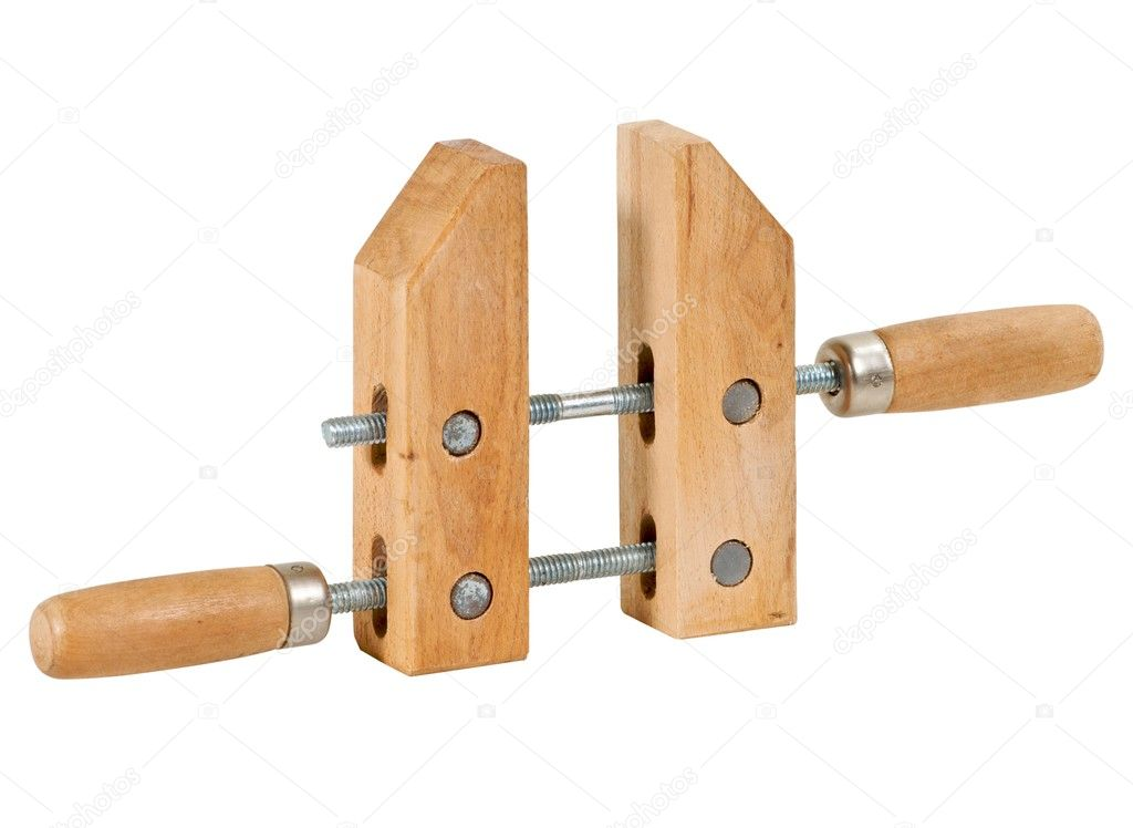 Wooden woodworking screw clamp.  Stock Photo #3278535