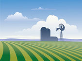 Farm With Windmill — Stock Photo