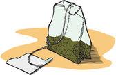 Green Tea Bag — Stock Photo