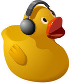 Rubber ducky with headphones — Stock Photo