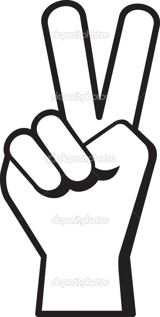 Peace Sign Hand Black Peace Hand Sign Symbol in