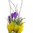 Bouquet of spring crocuses in a decorative box — Stock Photo