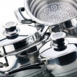 A set of saucepans, stainless steel — Stock Photo #3254779