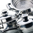 Stock Photo: Set of saucepans, stainless steel