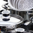 Stainless steel pans — Stock Photo