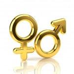 Male and Female Symbols isolated on white — Stock Photo