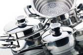 A set of saucepans, stainless steel — 图库照片