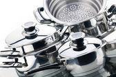 Un ensemble de casseroles, en acier inoxydable — Photo
