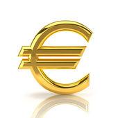 Golden euro sign on white — Stock Photo