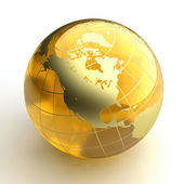 Amber globe with golden continents on white background — 图库照片