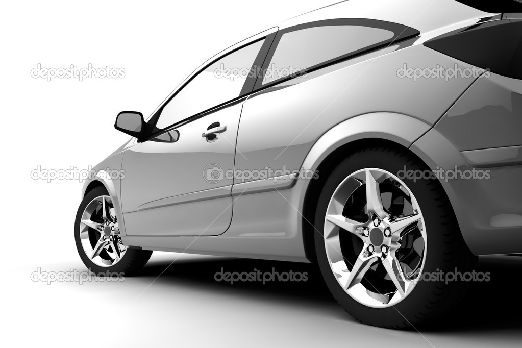 Dynamic view of the car. Built in three-dimensional program — Lizenzfreies Foto #3255720