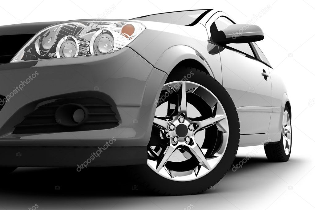 Car front bumper, light and wheel on white — Stockfoto #3255721
