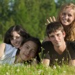 Four young men - two girls and two guys lying on the grass in th — Stock Photo