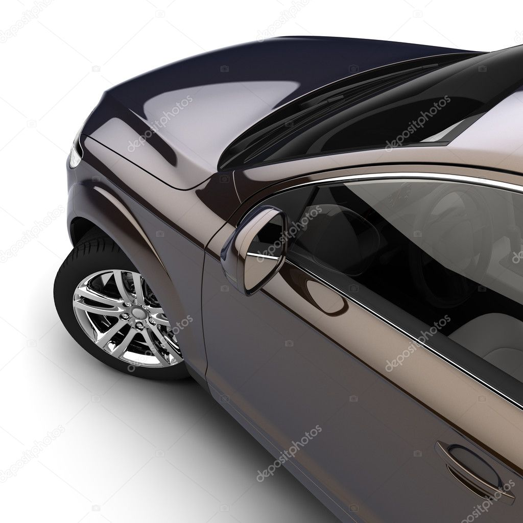 Dynamic view of the modern car from the driver's door, just above, on a white background — Stock Photo #3756216