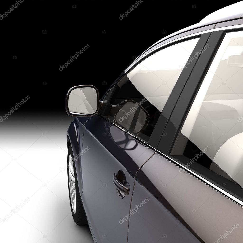 Detail of a modern car in a studio in the direction of motion from the side of the driver's door  Stock Photo #3757455