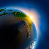 地球宇宙空間の上の日の出 — ストック写真