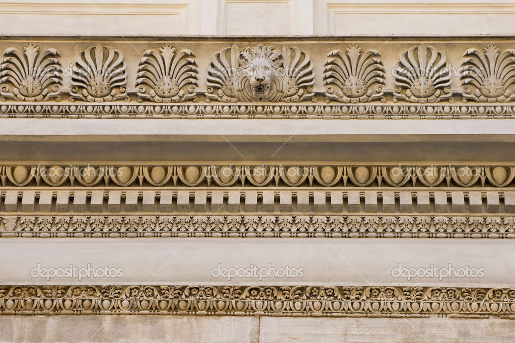 Fragment of ornate relief. Rome, Italy — Stock Photo #3765845