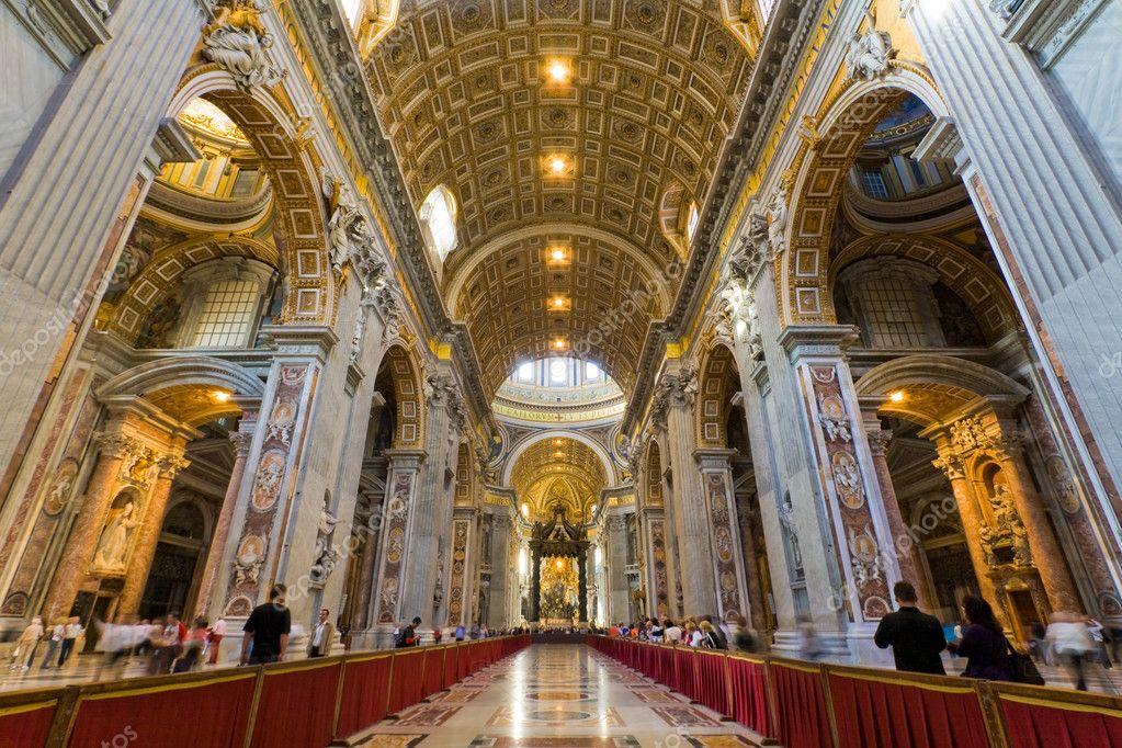 Saint Peters Basilica Interior In Vatican Stock
