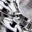 A set of saucepans, stainless steel — Stock Photo #3791352