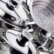 A set of saucepans, stainless steel - Photo