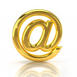 Golden email sign — Stock Photo