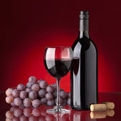Bottle and glass of red wine — Stock Photo