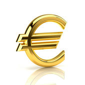 Golden euro sign on white — Stock Photo