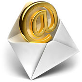 Golden e-mail sign — Stock Photo