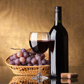 A bottle of red wine, glass and grapes — Stock Photo