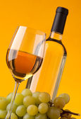 Bottom view of a glass of white wine bottle and grapes — Stock Photo