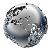 Stylized metal model of the Earth — Stockfoto