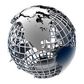 Stylized metal model of the Earth — Stock Photo