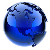 Blue glass globe — 图库照片