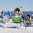 Snow cannons on a high mountain — Stock Photo